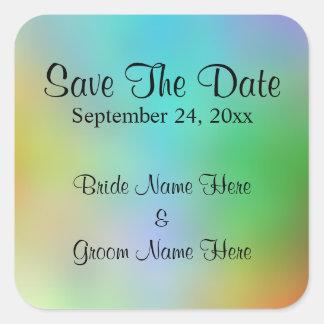 Pretty Colorful Wedding Save The Date Design. Square Sticker