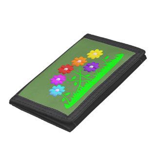 Pretty comic cartoon art colors flowers grass trifold wallet