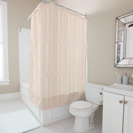 Pretty copper rose gold pineapple & blush pink shower curtain