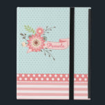 "Pretty Coral and Blue Floral Custom iPad Case<br><div class=""desc"">Pretty iPad 2/3/4 folio style case, with a small blue and brown polka dot pattern, across the top of the case, and a coral pink and white stripe pattern and polka dot pattern across the bottom. Sweet graphics of a coral floral banner decorates the front top. Personalize the text, on...</div>"
