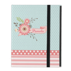 Pretty Coral and Blue Floral Custom iPad Case