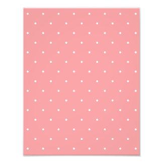 Pretty Coral and White Polka Dots Gift Photo Print