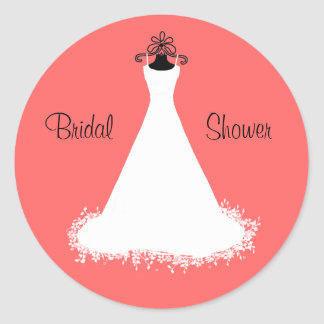 Pretty Coral Bridal Shower Envelope Seal Classic Round Sticker
