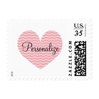 Pretty coral pink chevron pattern heart stamps