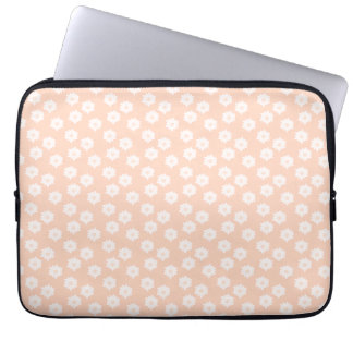 Pretty Coral Pink Color Floral Pattern. Laptop Computer Sleeves