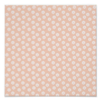 Pretty Coral Pink Color Floral Pattern. Print