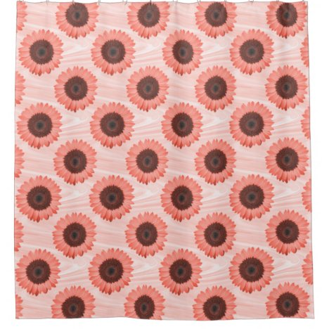 Pretty Coral Pink Floral Sunflower Pattern Shower Curtain