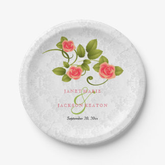 Pretty Coral Rose Wedding Paper Plate