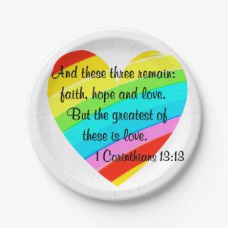 PRETTY CORINTHIANS 13:13 RAINBOW HEART DESIGN PAPER PLATE