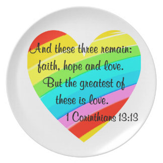 PRETTY CORINTHIANS 13:13 RAINBOW HEART DESIGN PLATE