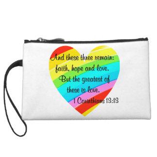 PRETTY CORINTHIANS 13:13 RAINBOW HEART DESIGN WRISTLET WALLET
