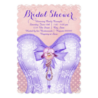 Pretty Corset Pink and Purple Bridal Shower Card