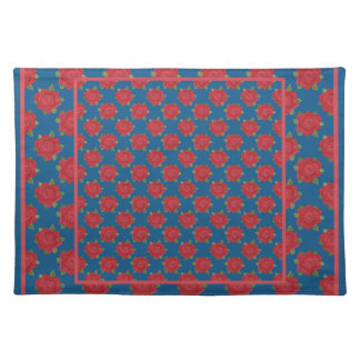 Pretty Cotton Placemat: Red Roses on Deep Blue Placemat