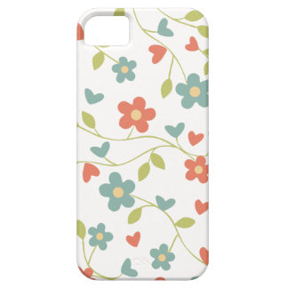 Pretty Country Hearts and Flower Pattern on White iPhone 5 Covers