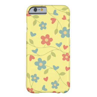 Pretty Country Hearts and Flower Pattern on Yellow Barely There iPhone 6 Case