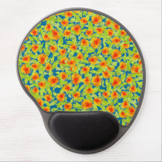 Pretty Country Marigolds on Blue Gel Mousepad