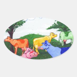 Pretty Cows Oval Sticker