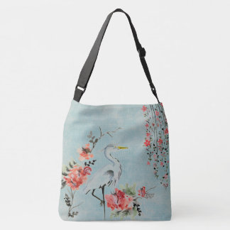 Pretty crane flower vintage look fancy  tote bag