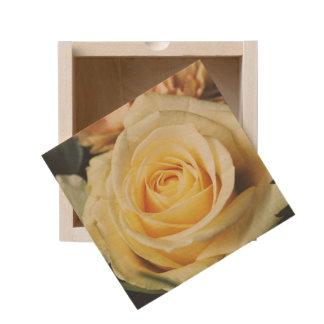 Pretty Cream Colored Rose Wooden Keepsake Box