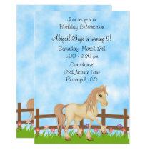Pretty Cream Horse and Flowers Birthday Invitation
