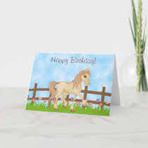 Pretty Cream Horse and Flowers Happy Birthday Card