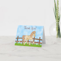 Pretty Cream Horse and Flowers Thank You
