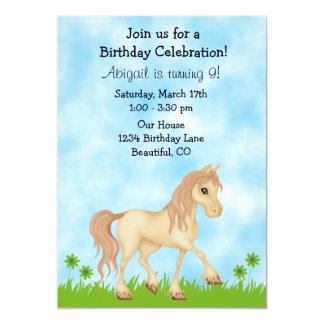 Pretty Cream Horse Girls Birthday Invitation