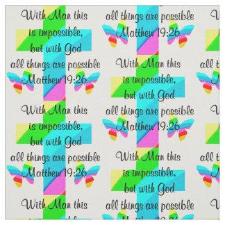 PRETTY CROSS AND RAINBOW MATTHEW 19:26 DESIGN FABRIC