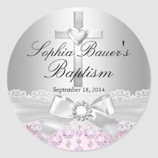 Pretty Cross & Lace Bow Baptism Sticker