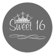 Pretty Crown Dark Gray Sweet 16 Birthday Sticker
