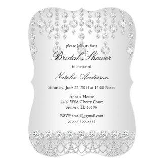 Pretty Crystal Bridal Shower Silver Gray White Card