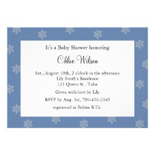 Pretty Crystal Snowflakes (blue) Personalized Invitations