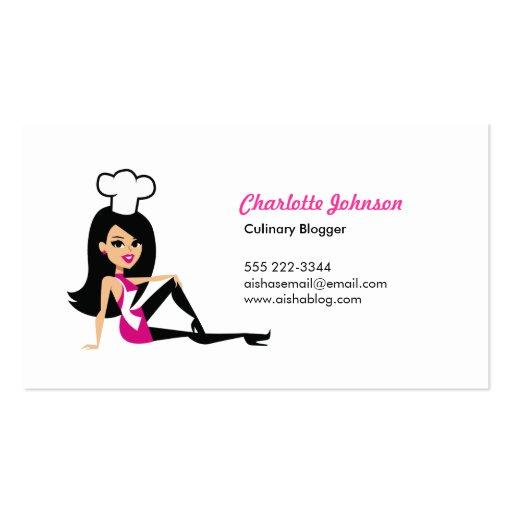 Pretty Culinary Girl Personal Card with Illustrati