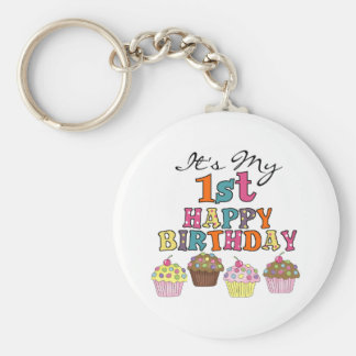 Pretty Cupcakes 1st Birthday Tshirts and Gifts Basic Round Button Keychain