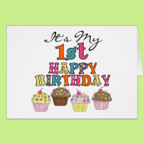 Pretty Cupcakes 1st Birthday Tshirts and Gifts Card