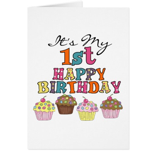 Pretty Cupcakes 1st Birthday Tshirts and Gifts Greeting Card