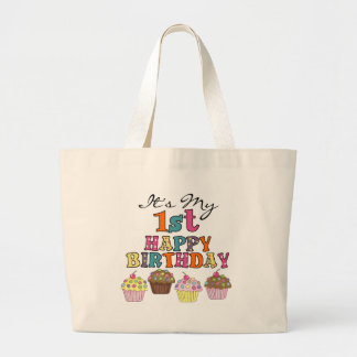 Pretty Cupcakes 1st Birthday Tshirts and Gifts Large Tote Bag