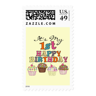 Pretty Cupcakes 1st Birthday Tshirts and Gifts Stamp