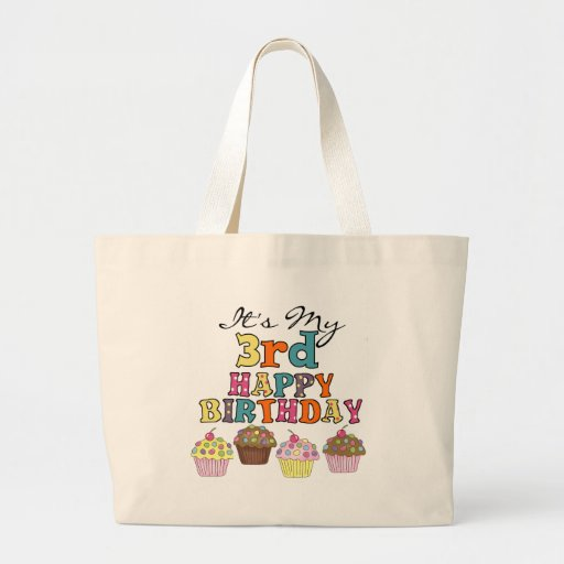 Pretty Cupcakes 3rd Birthday Tshirts and Gifts Canvas Bag