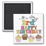 Pretty Cupcakes 3rd Birthday Tshirts and Gifts Refrigerator Magnet