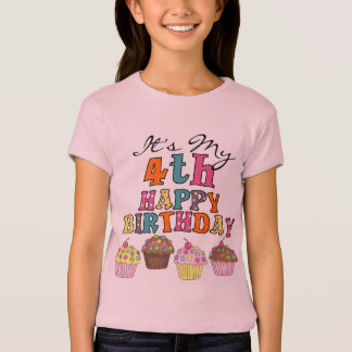Pretty Cupcakes 4th Birthday Tshirts and Gifts