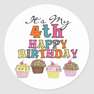 Pretty Cupcakes 4th Birthday Tshirts and Gifts Classic Round Sticker