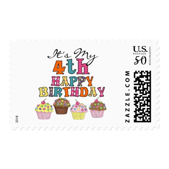 Pretty Cupcakes 4th Birthday Tshirts and Gifts Postage