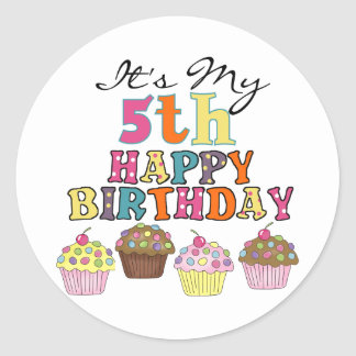 Pretty Cupcakes 5th Birthday Tshirts and Gifts Classic Round Sticker