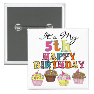 Pretty Cupcakes 5th Birthday Tshirts and Gifts Pinback Button