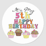 Pretty Cupcakes 5th Birthday Tshirts and Gifts Round Sticker