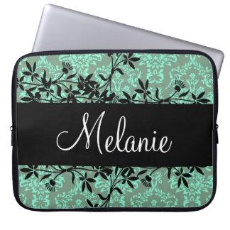 Pretty Custom Name Damask Vine Design Laptop Case