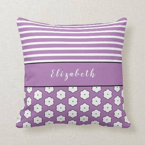 Pretty Custom Name Stripe Floral Pattern Lavender Throw Pillow