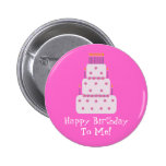 Pretty Customizable Birthday Cake Pink 2 Inch Round Button