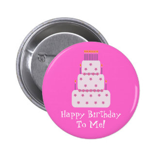 Pretty Customizable Birthday Cake Pink Button